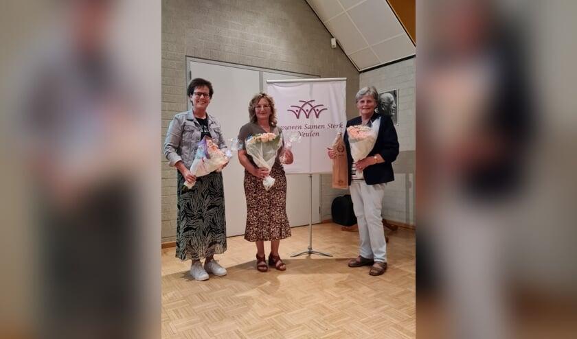 <p>Mari&euml;lle Clephas (links), Connie Timmermans en Nelly van Staveren.</p>