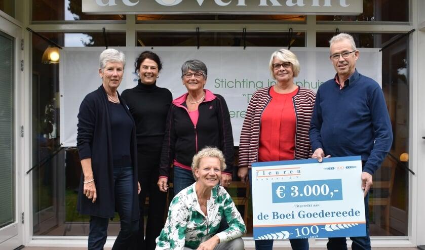 Wim Fleuren (rechts) tijdens de overhandiging van een cheque aan Inloophuis De Boei. Het bedrijf wil graag een bijdrage leveren aan de samenleving. (Foto: Rody Vlietland)