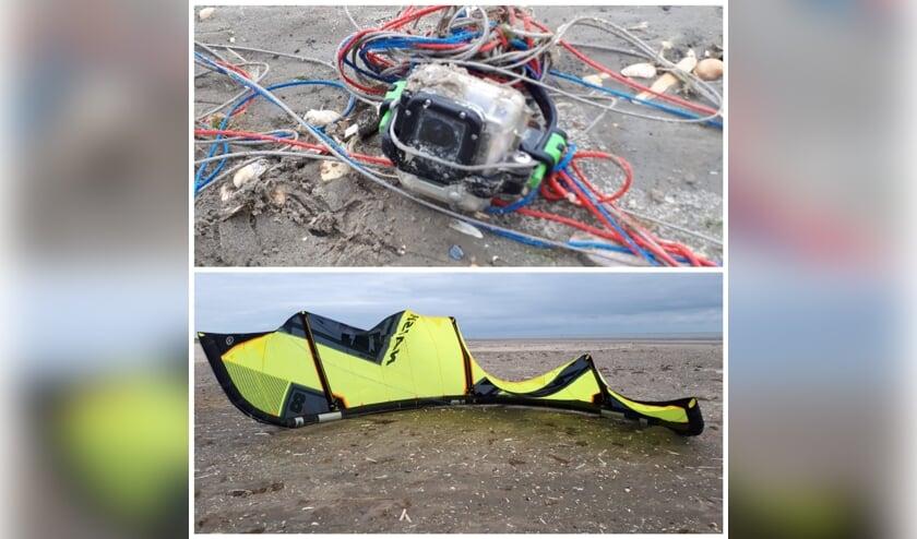 De gestrande kite en camera.