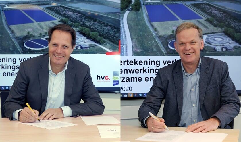 Links Arjan ten Elshof (HVC) en rechts Leo Stehouwer (waterschap Hollandse Delta).