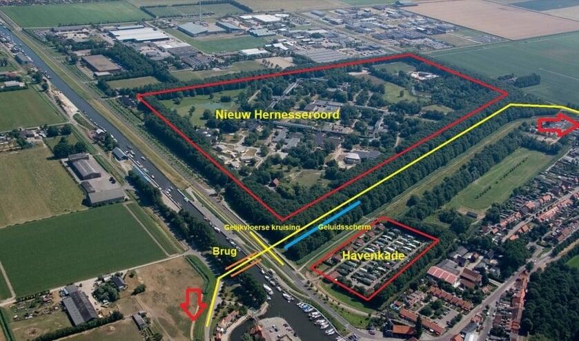 <p>Impressie hoe de Oostelijke Randweg (gele lijn) zou kunnen gaan lopen.</p>