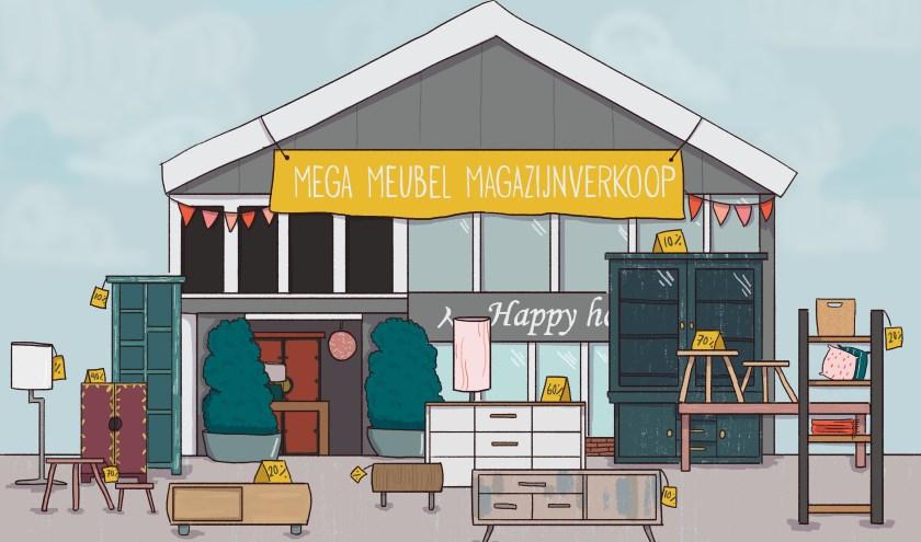 De kortingen lopen hoog op bij de Mega Meubel Magazijnverkoop van Happy Home.