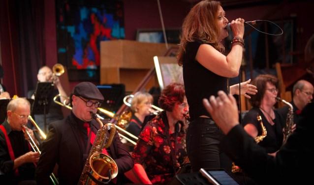 Diverse zangers uit Hoogwoud en omgeving zingen mee met de L-Star Bigband.