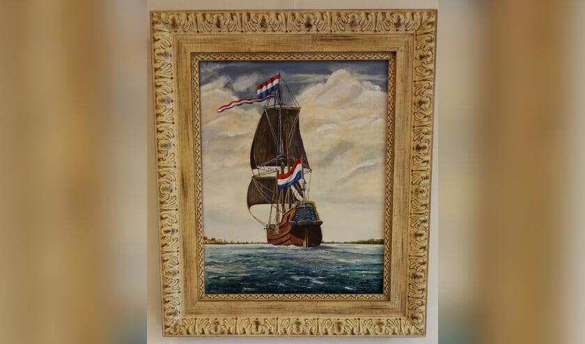 Nel Tiepel van Debutade schilderde een Oost-Indiëvaarder onder vol zeil.