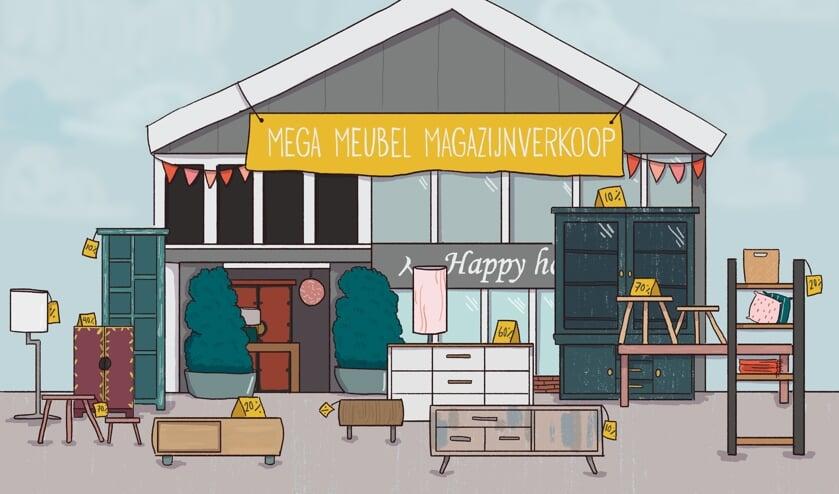 Kom ook naar de magazijnverkoop van Happy Home.