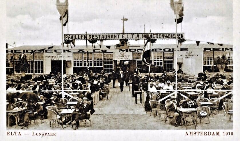 Het ELTA 'pavillon' in 1919 ligt precies op de plaats waar nu de Ceuvel is.