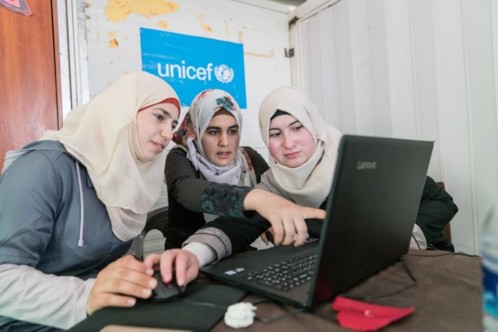 Jordaanse jongeren in opleiding, het doel waarvoor dit jaar gebridged wordt.  (Foto: UNICEF) © rodi