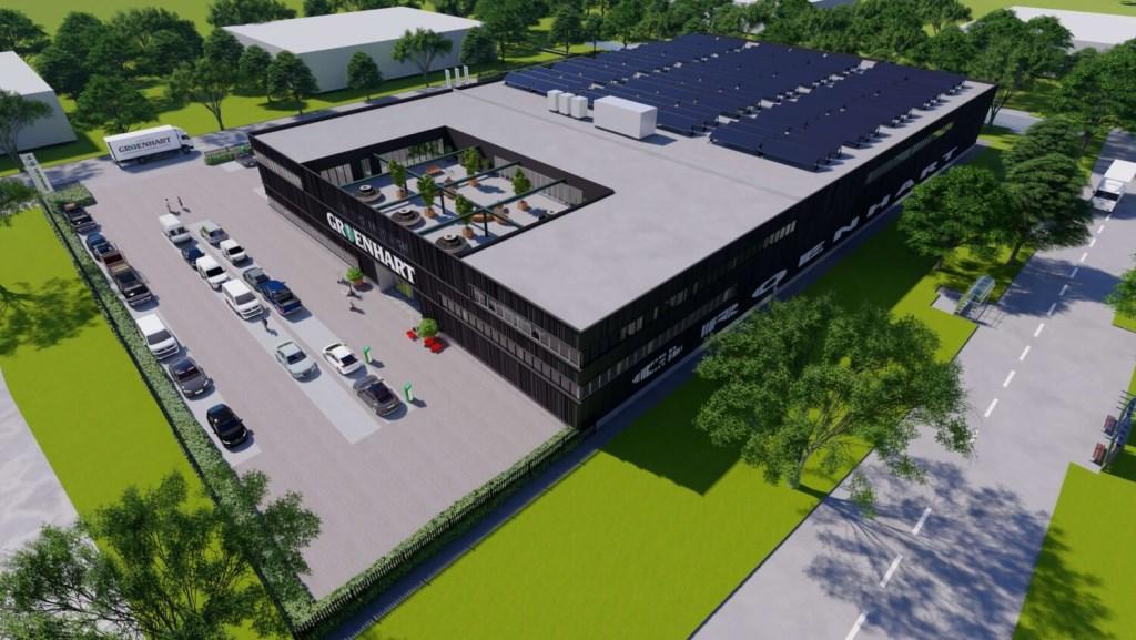 Artist impression van het nieuwe hoofdkantoor van bovenaf. (Foto: aangeleverd) © rodi