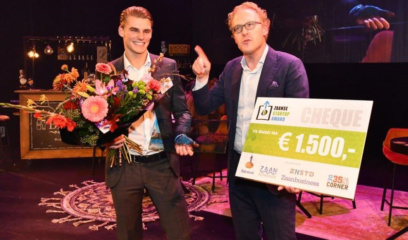 Winnaar van de Zaanse Start-Up Award Daan Horak.