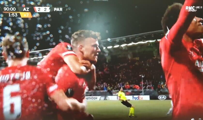 Ferdy Druijf niet ontevreden met zijn late goal.