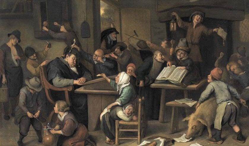 Onderwijs in de Gouden Eeuw: schilderij van Jan Steen (1626-1679)