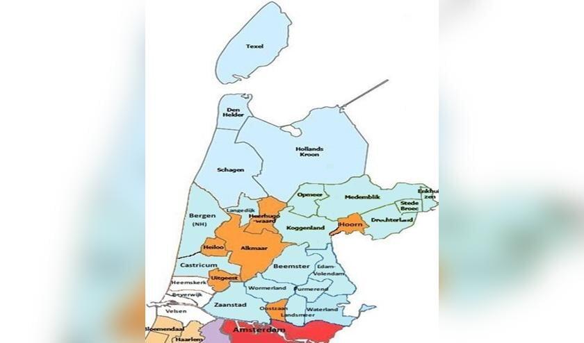 Lichtblauw: de 20 Noord-Hollandse VVD fracties.