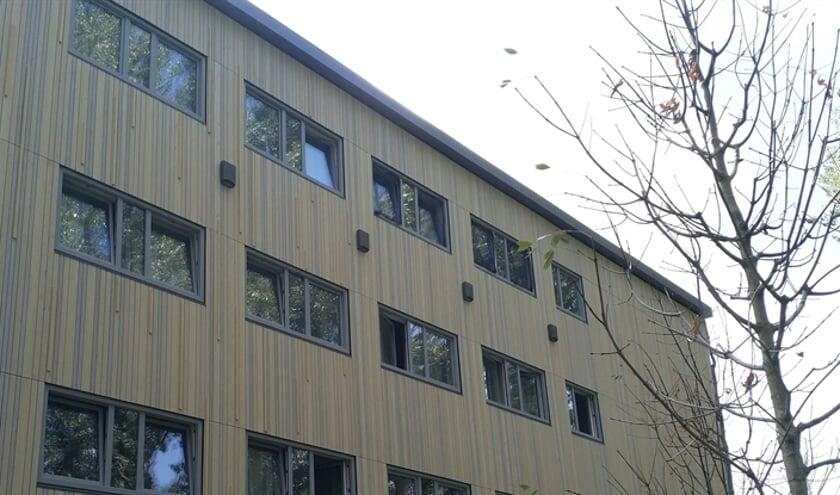 Vier vleermuiskasten op de gevel van Startblok Elzenhagen.