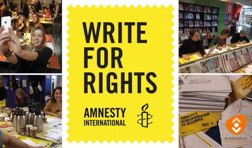 De flyer voor Write for Rights.