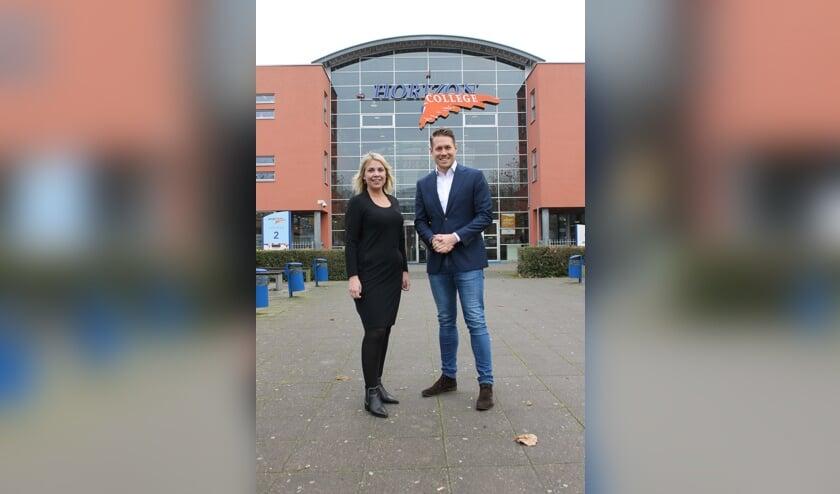 Bianca de Jong en Rob Buwalda voor het Horizon College in Heerhugowaard.