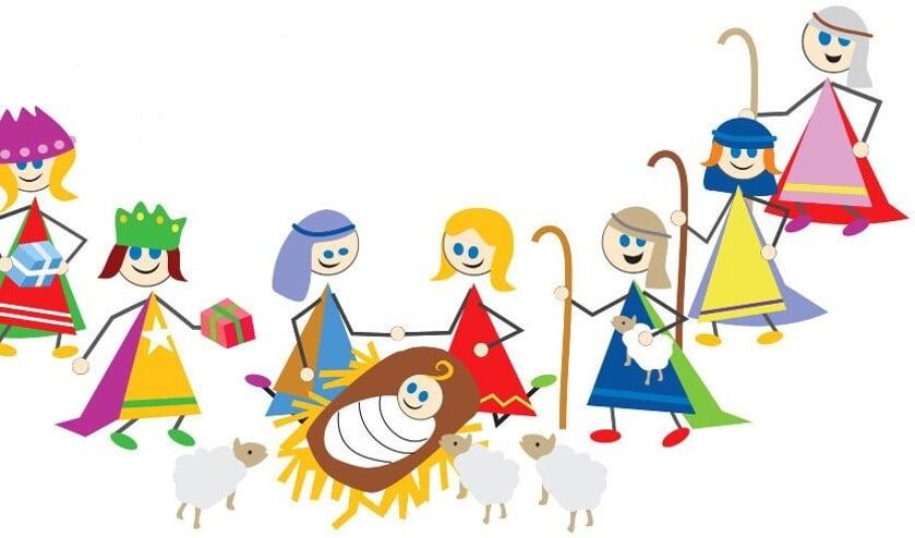 Illustratie van de kerststal