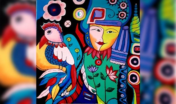 <p>De tentoongestelde schilderijen zijn te koop.</p>