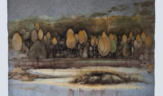 Charlotte Caspers, Herfst aan duinrand, 2017. Handgeschept lompenpapier en ei-tempera.
