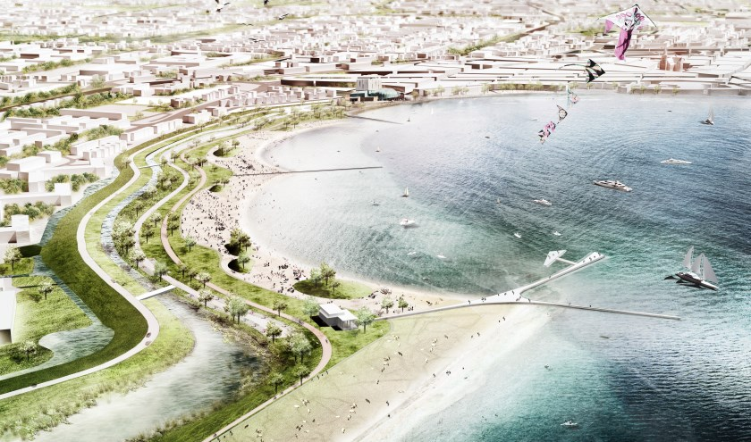 Impressie van het stadsstrand zoals het er in 2021 uitziet.