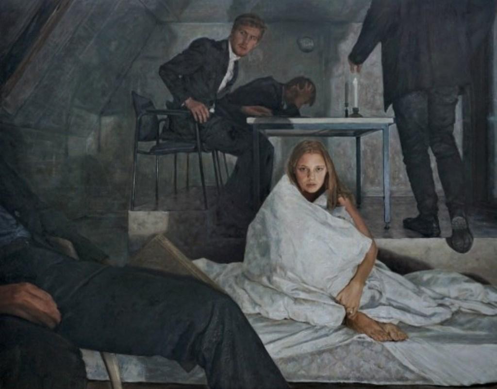 Het schilderij van Sebas 'Een vallend boek' werd door de jury een meesterwerk genoemd.  © rodi
