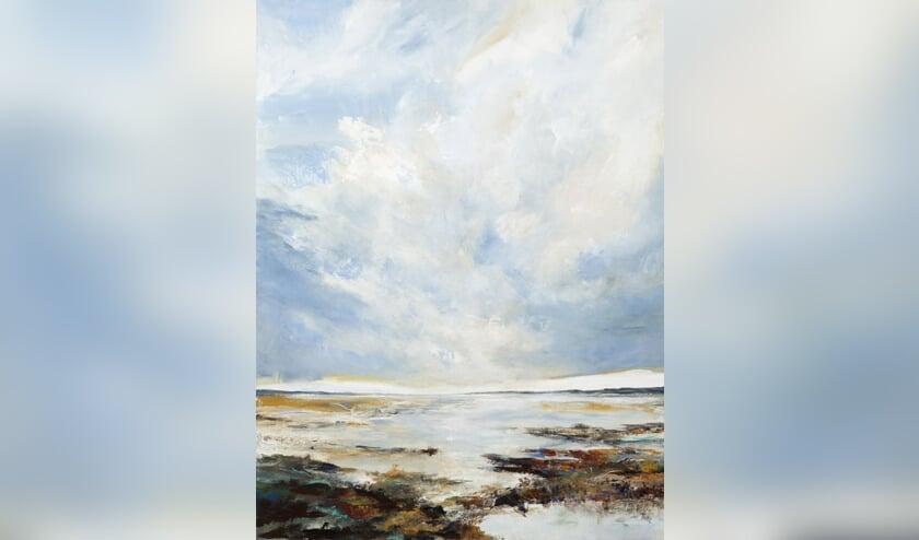 Werk van Irma van der Zande met als thema 'Strand'.