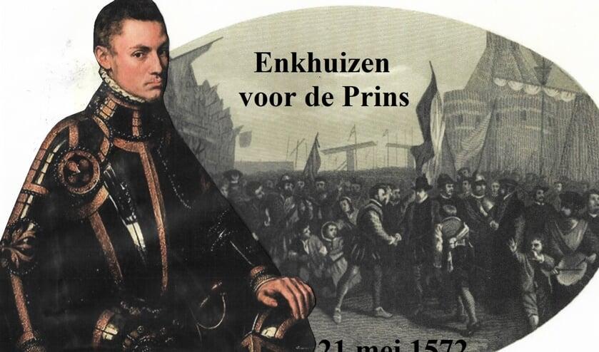 Prins Willem van Oranje met een gravure van zijn aankomst in Enkhuizen, 20 oktober 1572.