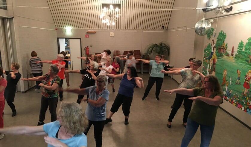 De groep leert een dans in uit Kazachstan.