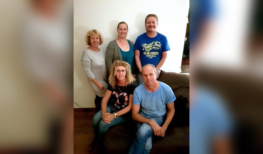 De reunie werkgroep: Niels Jong, Colette van der Meer, Annelie Baas, Meindert Homan en Jolanda Slagter
