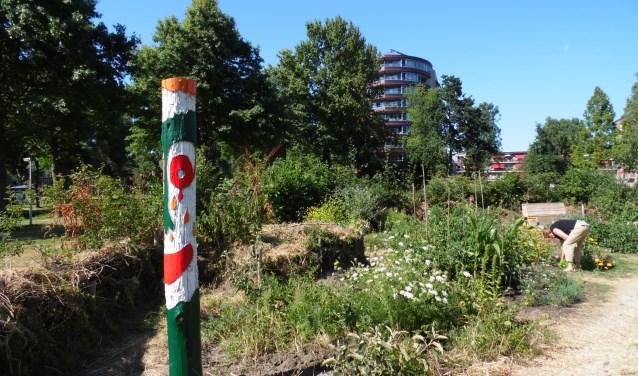 De fietsers komen ook langs Rosarium Vriendentuin in Krommenie.