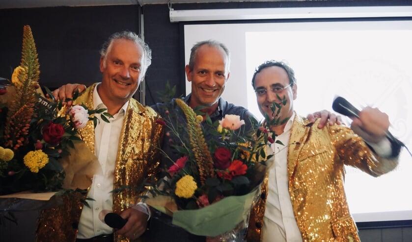 Ben-Kees Eeltink (veilingmeester), Michiel van Zeggeren (voorzitter) en Simon Kornblum (veilingmeester).