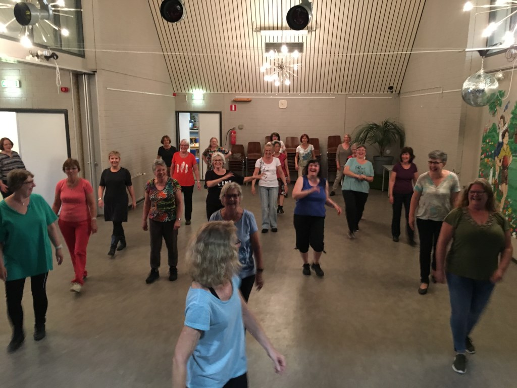 De groep leert een dans in uit Kazachstan.   © rodi