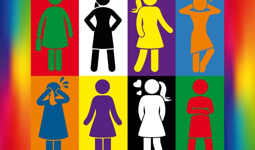 Acht vrouwen: elk met hun eigen tinten, oftewel hun eigen karakter en emoties.