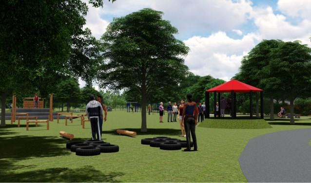 Sportief plein met diverse toestellen om buiten te bewegen