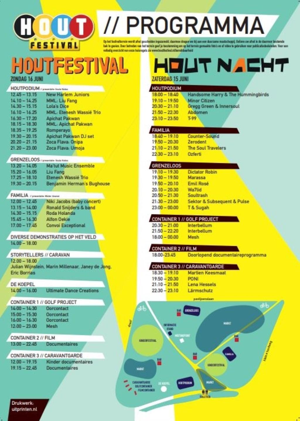 Het programma van de Houtnacht en Houtfestival. (Foto: PR) © rodi