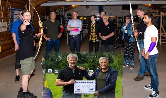 Voor en na het uitreiken van de cheque, door Michel Meijer aan Ron Rijser, was er volop gelegenheid voor de aanwezigen om de boog ter hand te nemen. Onder hen Jan Cor de Boer en Aram Bakr van Spurd.