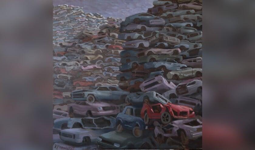 Door kleurgebruik en compositie wil de kunstenaar monumentaliteit van industrialisering en verstedelijking benadrukken.