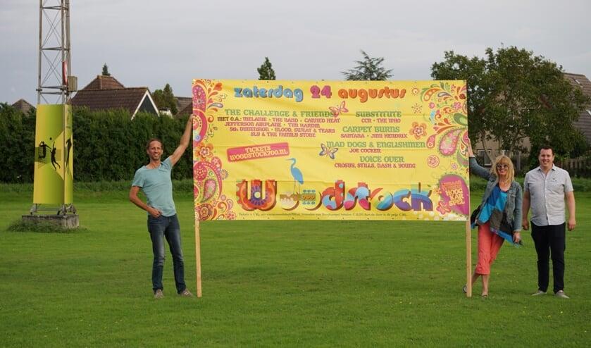 De organisatie van Woodstock 700: Arthur Burgmeijer, Carin Wagenaar en Kevin Groot (v.l.n.r.).