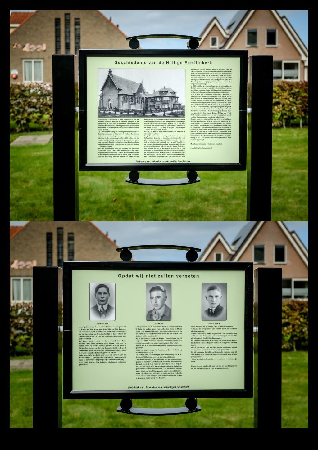 Een collage van het informatiebord, met boven de zijde met de historie van de kerk en onder de zijde waarop de oorlogsslachtoffers geëerd worden. (Foto: Richard Rood) © rodi