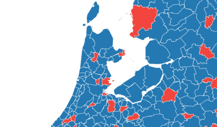 Gemeenten reageren goed:blauw en slecht: rood.