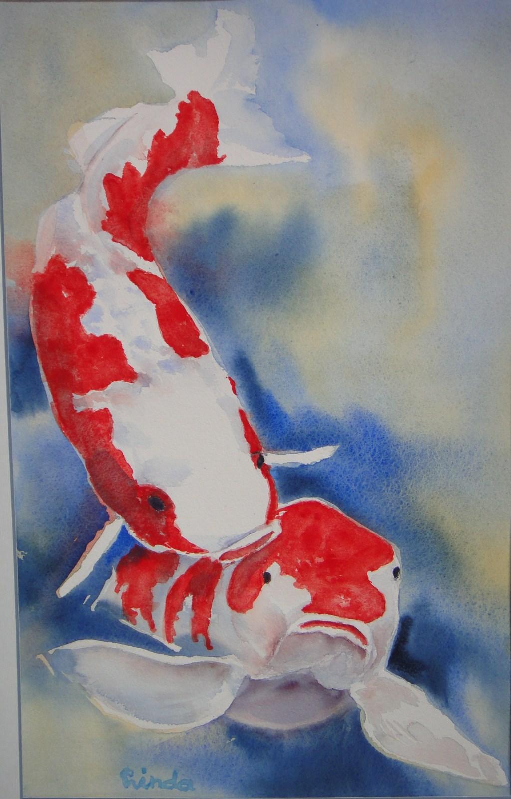 Een aquarel met vissen.  (Foto: Aangeleverd) © rodi
