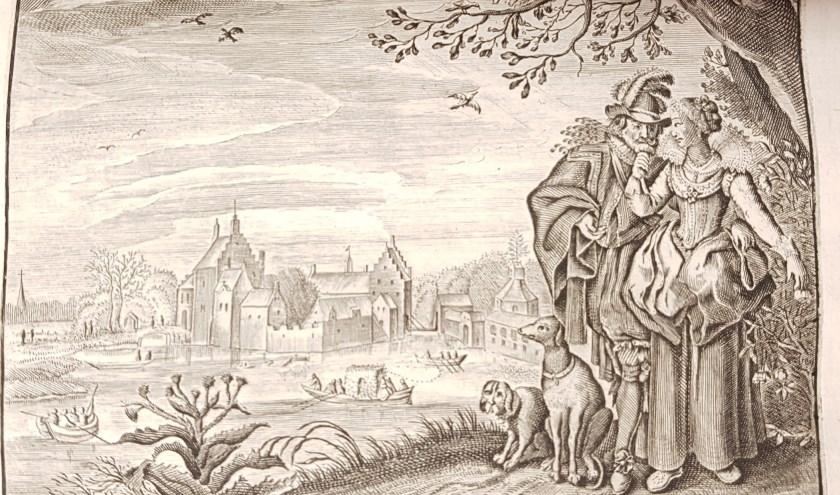 Een jong paar uit het werk van Jacob Cats' 'Werelts begin, midden, eynde, beslooten in den trou-ring, met den proef-steen van den selven' uit 1637.