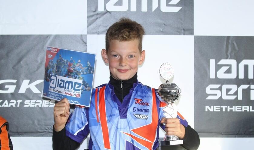 karter Dylan Visser uit Assendelft die zondag in Emmen derde werd in de eindstand van het NK in de Mini Parilla-klasse.