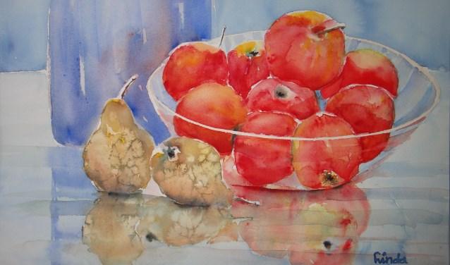 Een fruitschaal, geschilderd door Linda Mulder.