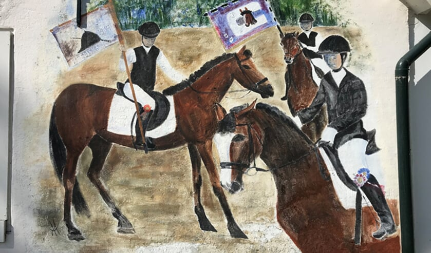 Een schilderij van de jubilerende rijvereniginbg de Commandeurs.