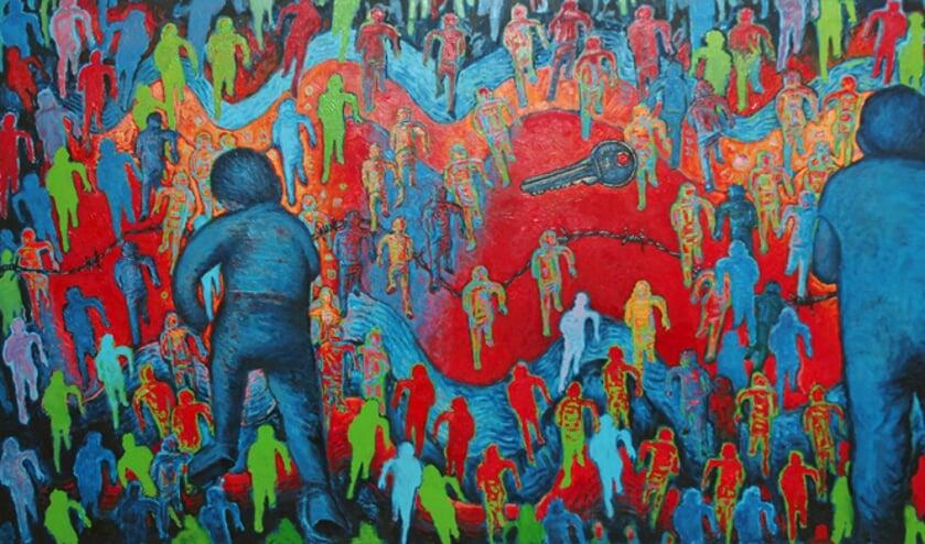 'Rennende mannen' (vluchtelingen), 2017, gemaakt door Jan Okke Beerda.