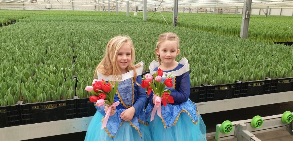 Femke en Zoé doopten de nieuwe rode tulp : Tulipa Make-A-Wish. (Foto: Theo Annes) © rodi