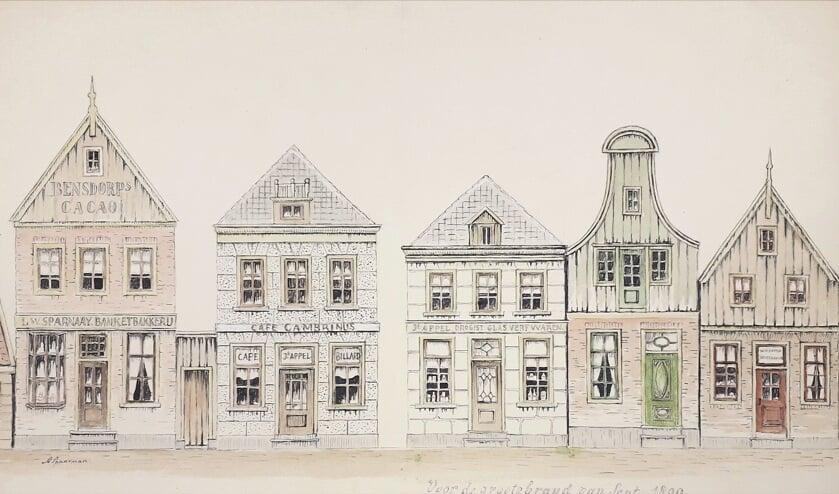 'De Rechtestraat voor de grote brand in 1899' vervaardigd door Arie Spaarman