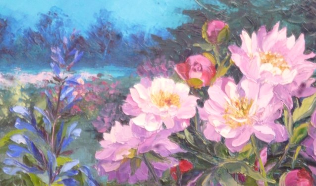 Creatieve workshop bloemen schilderen in Keesschuur.