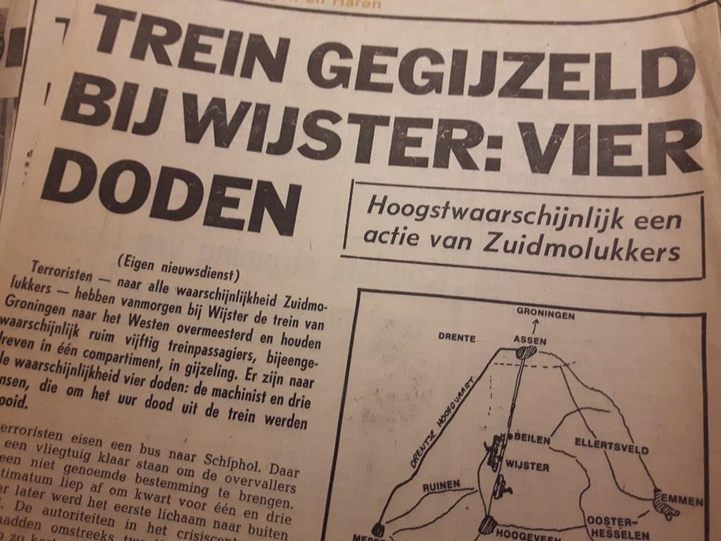 Krantenknipsel met de treinkaping.  © rodi