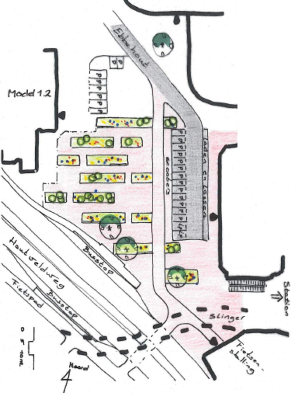 <p>De ontwerpen waarop gestemd kan worden: plan A (links) Parkstroken en plan B (rechts) Parkheuvels. </p> <p>(Tekening: aangeleverd)</p> © rodi